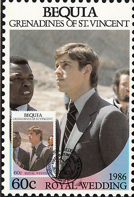 (13554) Bequia St Vincent Maxicard Prince Andrew Fergie Royal Wedding 1986
