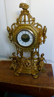 Large  gold finished metal  mantle clock in working order