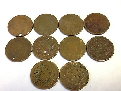 Lot of 10 x US 2 Cent Pieces, historic 1860s Two Cents, cull / low grade