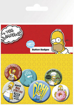 Button Badge 6er Pack THE SIMPSONS - Doh - Homer Mix 2x32mm & 4x25mm NEU BP442