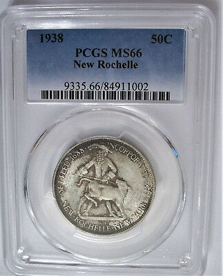 PCGS, MS66, 1938, New Rochelle Commemorative Half Dollar: Toned, Both Sides