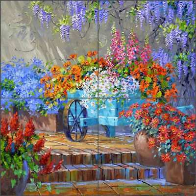 Floral Tile Backsplash Senkarik Flower Art Ceramic Mural MSA217