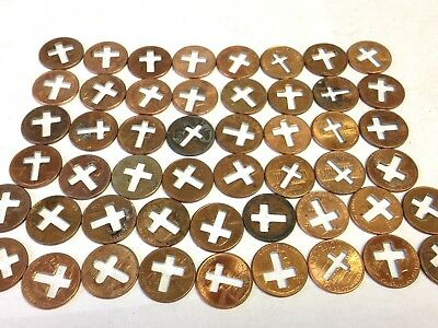 50 x Cross Pennies, counter-stamped Lincoln cents with crosses