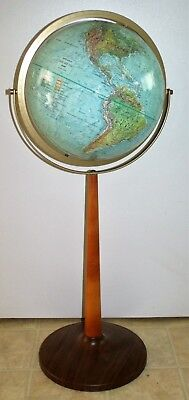Vintage Mid Century Modern Replogle Land & Sea Globe Wood & Metal Floor Stand