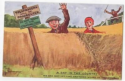 Vintage A/s Postcard,fred Buchanan,day In The Country,1943,couple In The Corn