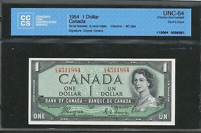 1954 $1 Devil's Face Hair Bank of Canada CCCS Choice UNC-64 Coyne-Towers BC-29a
