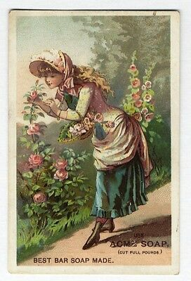 LAUTZ ACME SOAP Victorian Trade Card 1880's Young Lady in Garden with Flowers