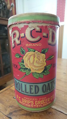 Antique R-C-D BRAND ROLLED OATS CONTAINER R.C. Drips Grocer, Rochester, MN