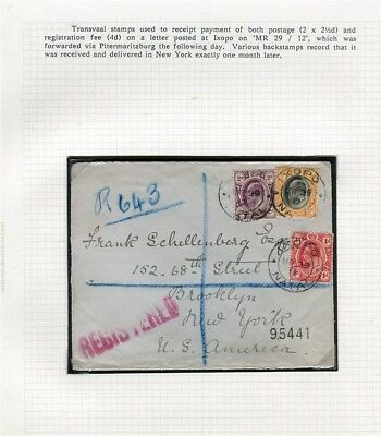 SOUTH AFRICA TRANSVAAL; 1912 fine Registered LETTER/COVER to New York