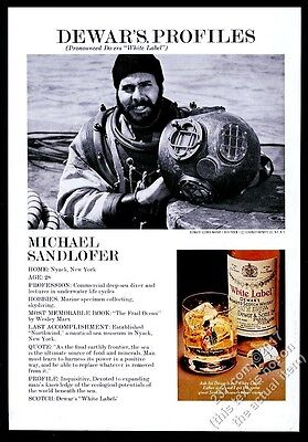 1976 deep sea diving diver with helmet photo Dewar's Scotch Whisky print ad