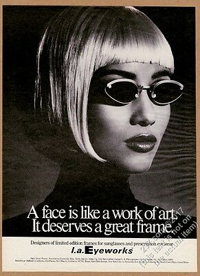 1991 Iman photo by Greg Gorman L.A. Eyeworks sunglasses vintage print ad