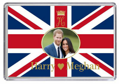 Prince Harry and Meghan Markle Royal Wedding Fridge magnet Union Jack