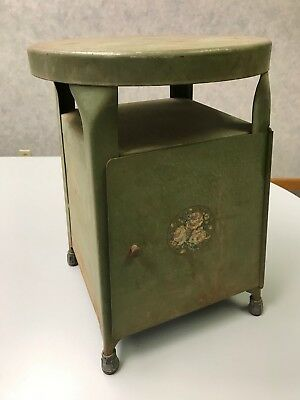 Very Rare Antique METAL MILK STOOL/CHILDS STOOL w/DOOR and STORAGE AREA 1900's