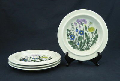 Arabia Flora Set of 4 Dinner Plates Finland Pink Blue Yellow White Green Floral