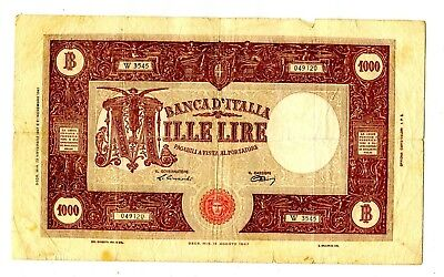 Italy 1000 Lire1947 Fine Very Large Note 17.95