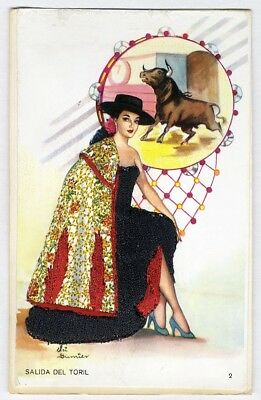 LADY MATADOR of Spain EMBROIDERED Postcard by Elsi GUMIER Beautiful Woman