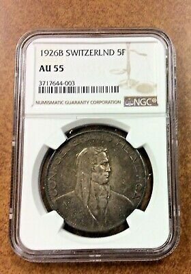 {BJSTAMPS} Switzerland 1926 Silver 5 Francs William Tell Confederatio NGC AU 55