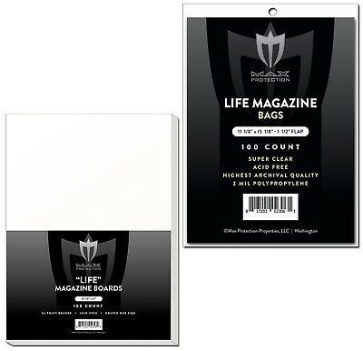200 Max Pro Ultra Clear Life Magazine Bags and Boards - Acid Free