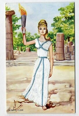 OLYMPIC FLAME Athens Beautiful Woman EMBROIDERED White DRESS by Elsi Gumier