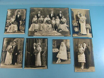 Lot of 7 Vintage Antique Original Cabinet Black and White Family Wedding Photos
