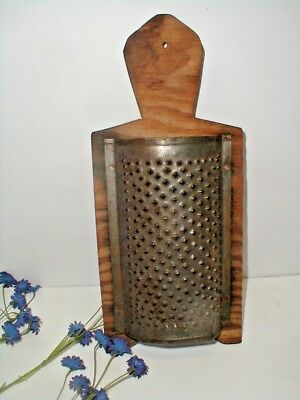 Antique Handmade Wall Display Wood Punched Tin Kitchen Grater Primitive 1900 eth