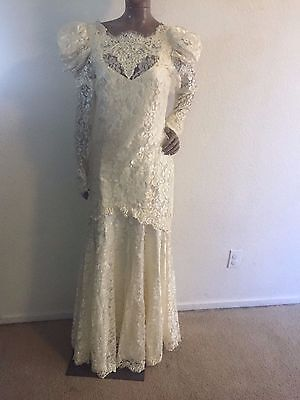 """Women's M? 37"""" chest ivory beaded vintage old fashioned look wedding dress lace"""