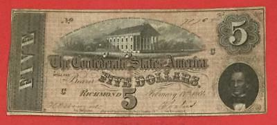 1864 $5 US Confederate States of America! FINE OLD US Paper MOney Currency