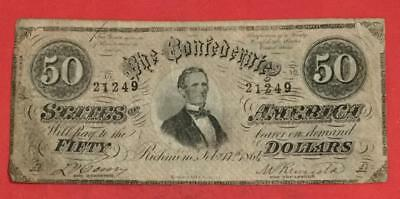 1864 $50 US Confederate States of America! VG Old US Paper Money Currency