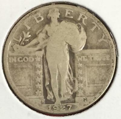 1927S US Standing LIBERTY SILVER Quarter! Key Date! Old US Coins