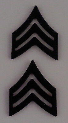 SGT Sergeant Chevrons TALL Subdued BLACK Collar Pins police/sheriff USA MADE!