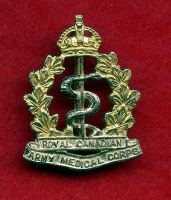 WW2 Royal Canadian Army Medical Corps Collar Badge (Kings Crown)