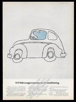 1968 VW Beetle classic car with air conditioning Volkswagen vintage print ad