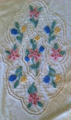 Vintage embroidered chenille bedspread