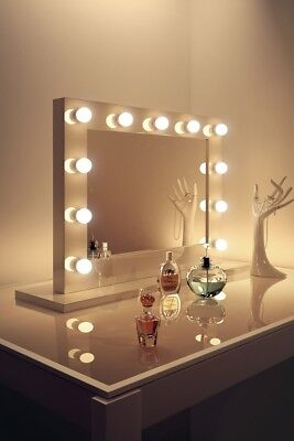 Diamond X White High Gloss Hollywood Makeup Mirror with Daylight LED k600CW