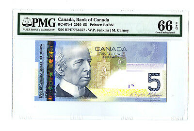 2010 $5 BANK OF CANADA PMG 66 EPQ BC-67b-i BANKNOTE JENKINS CARNEY PREFIX HPE