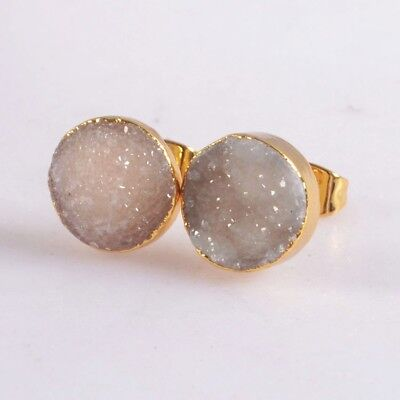 10mm Round Natural Agate Druzy Geode Stud Earrings Gold Plated H115289