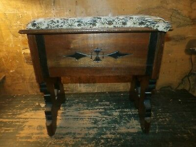 Antique Eastlake East Lake Wooden Piano Sewing Stool Bench Stand