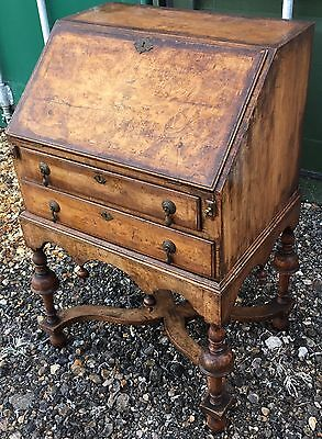 Antique William & Mary Queen Anne Style Walnut Bureau Writing Desk