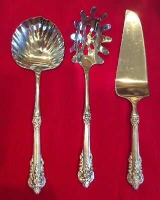 Wallace 1941 Grande Baroque sterling Serving Set, Pasta, Shell Spoon Cake Server