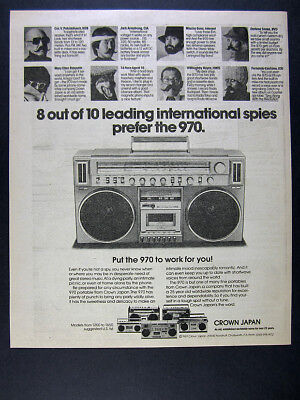 1981 Crown CSC-970 Boombox portable stereo photo vintage print Ad