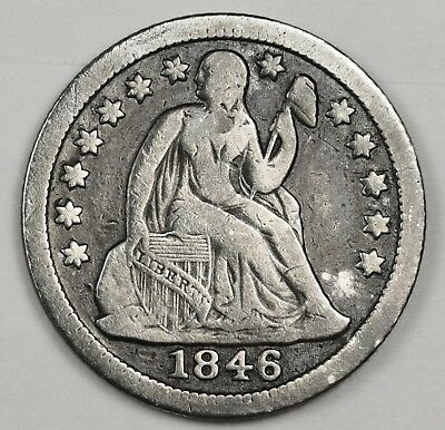 1846 Seated Liberty Dime.  F.-V.F.  123681