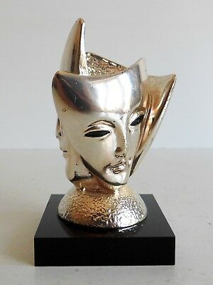 Very Unusual Old Stilarte Solid Silver Sculpture - Trio Of Masks - Made In Italy