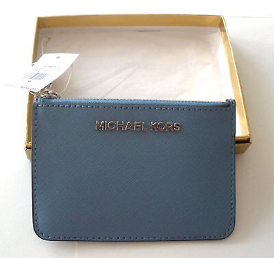 Michael Kors Sm Coin Pouch Id Key Holder Leather Sky Blue Nwt  Msrp $118
