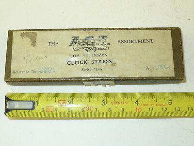 NOS Watchmakers tools boxed A.G.T. Swiss Made MANTEL CLOCK STAFFS on box