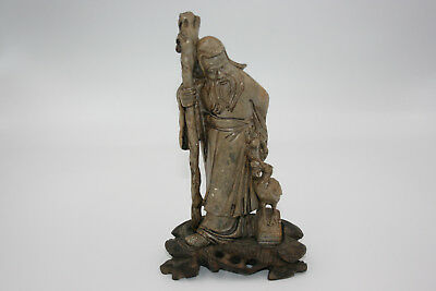 Antique Oid Chinese Soapstone Carved Man with Crane Figurine on Wooden Stand