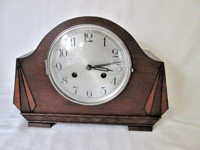 A Haller Art Deco Oak Chiming Mantel Clock