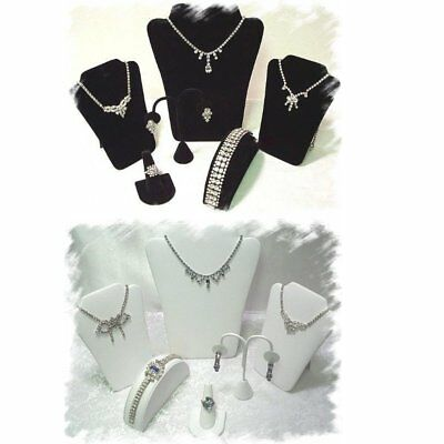 6 Piece Jewelry Display Bracelet, Necklace Ring, Earring Stand Holder Set Bk Wt