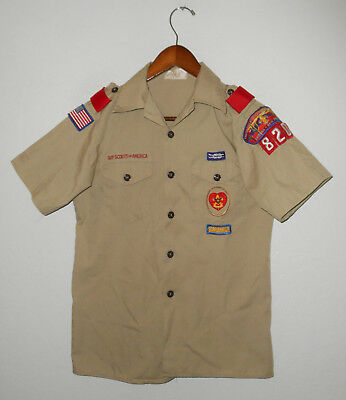 BOY SCOUTS Of America UNIFORM Shirt #820 SEWN Patches Official YOUTH Boys Sz LG