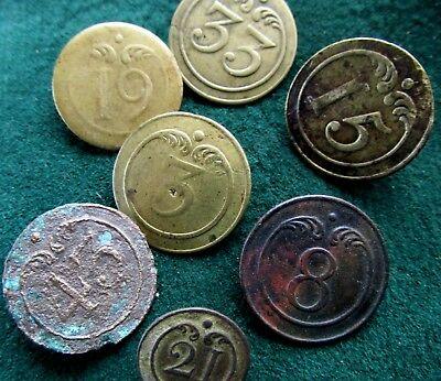 Napoleonic 1st Empire French Numbered Infantry Button Lot of 7