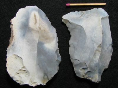 60.000Y.o:great 2 Flake Tools Neanderthal Stone Age Paleolithic Mousterian Flint